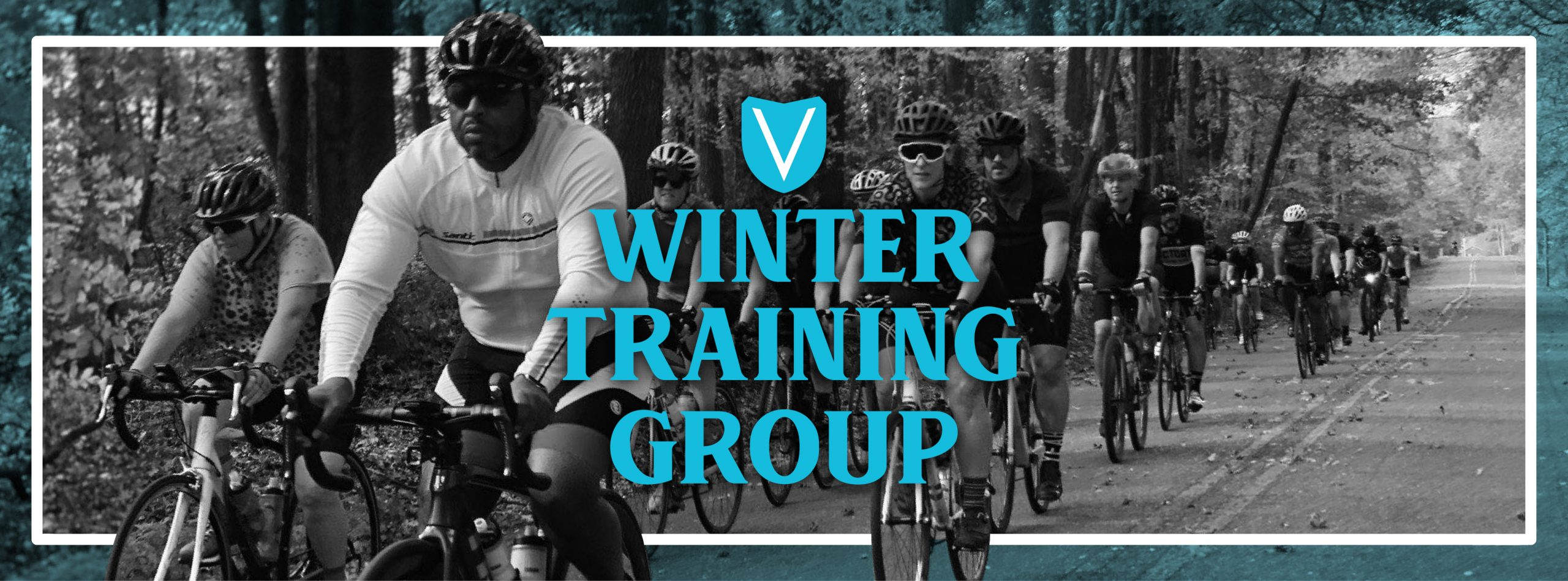 Winter Training Group banner - cyclists riding in black and white